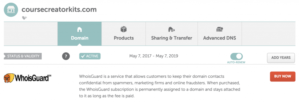 Namecheap Turn FREE Whoisguard on for a current domain 2 In the MANAGE dashboard, you'll see a BUY NOW button for the Whoisguard protection. Click the buy now button to add this service for free.