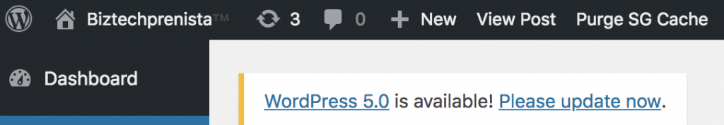 Please update to WordPress 5.0 notice
