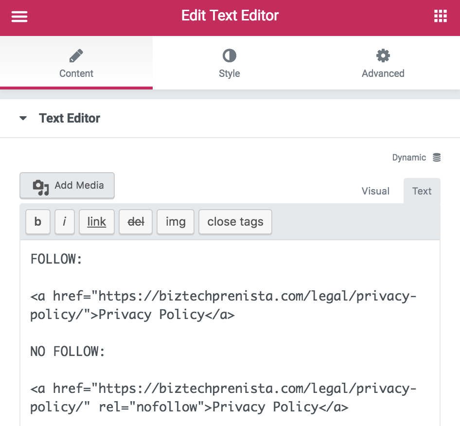 Creating NoFollow Text Links in Elementor Text Editor