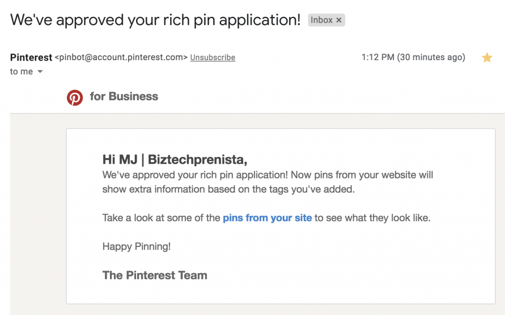 Rich Pins Approved Email