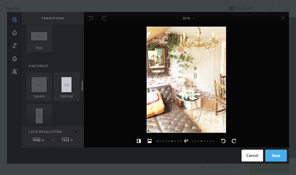 Hootsuite edit image screen - can crop, select a social media size, add text and more