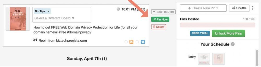 Hover next to a pin you want to edit in your Tailwind schedule and click Pin Now