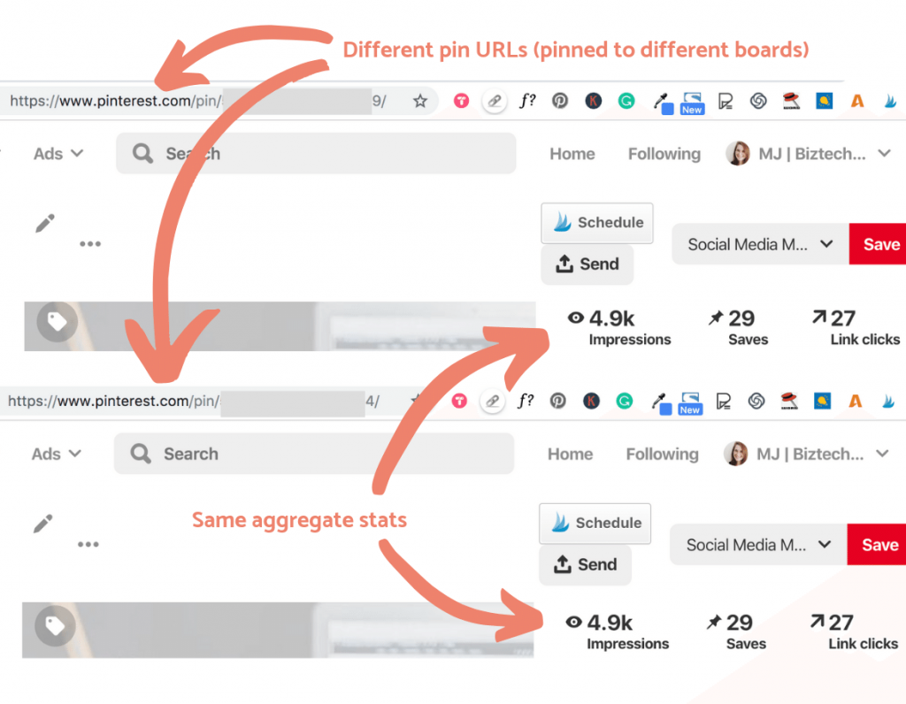 Aggregate pin stats for 2 different pin urls