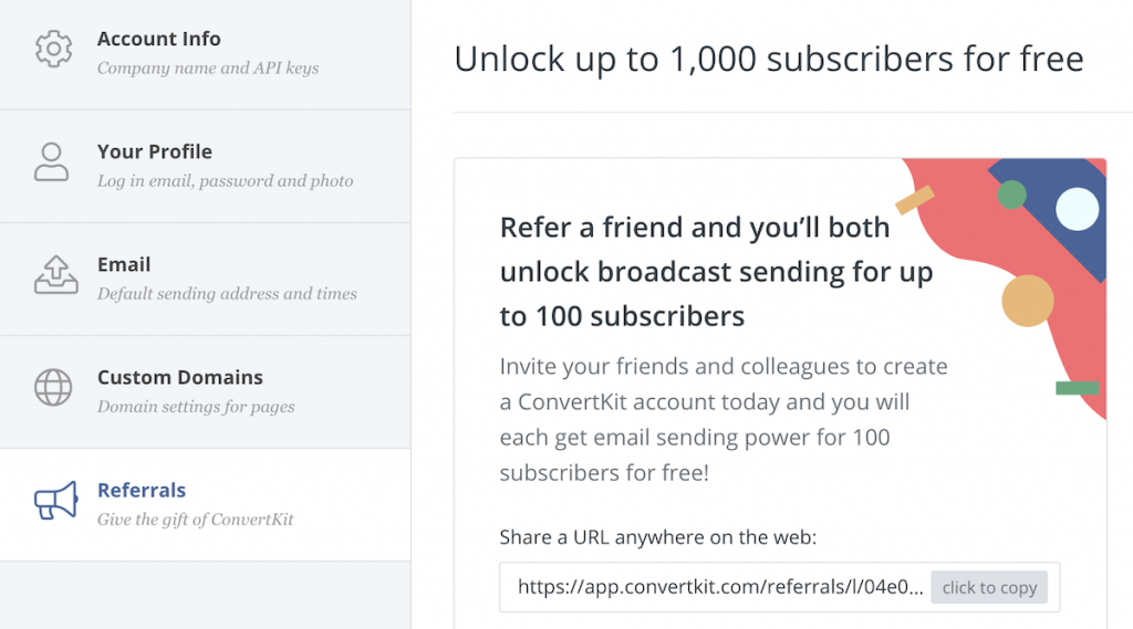 Share ConvertKit and Unlock Broadcast Sending for Up to 1000 Free Subscribers