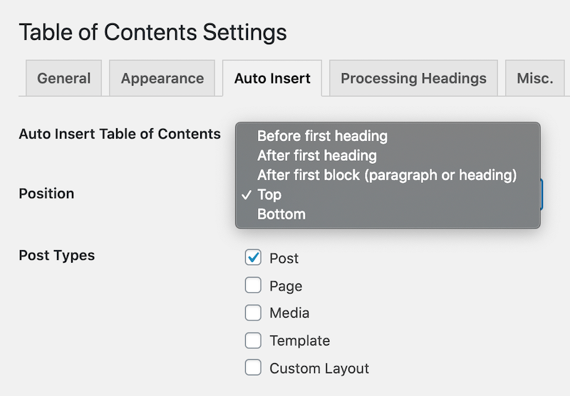 LuckyWP Table of Contents Plugin for WordPress - Default Auto Insert TOC Display Settings