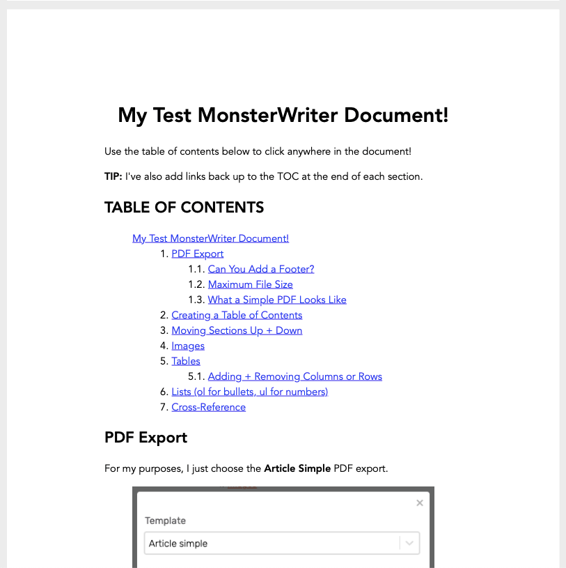 What a MonsterWriter Article Simple Exported PDF Looks Like